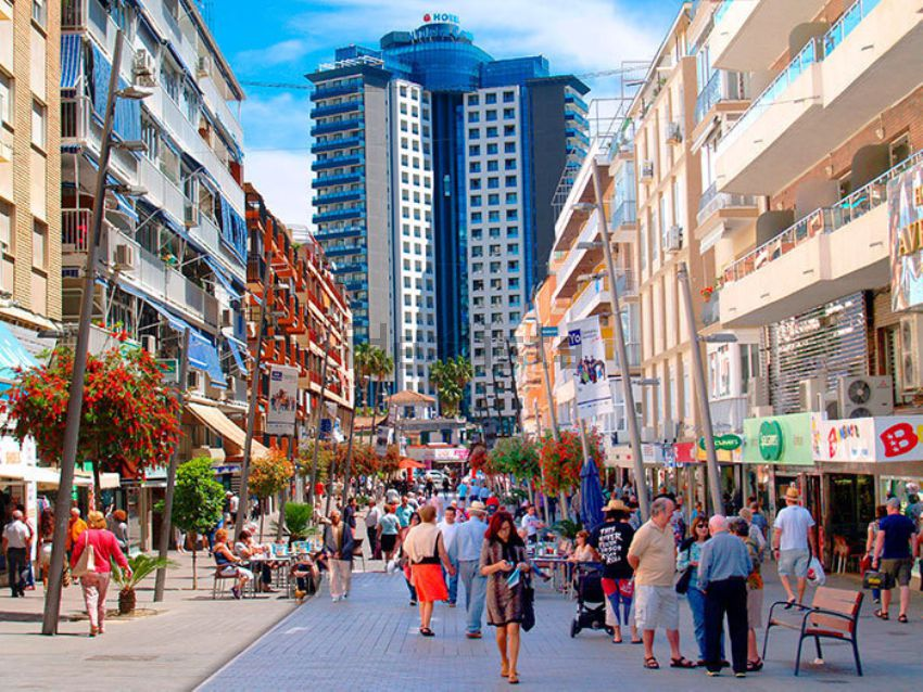 Shopping at a street of Benidorm