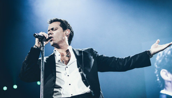 Marc Anthony singin at a festival